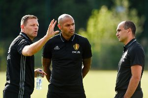 New Luton boss Graeme Jones with Thierry Henry and Roberto Martinez during his time at Belgium - Getty Images