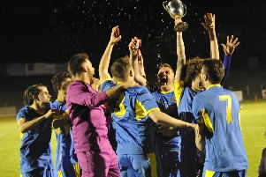 Northiam 75 II celebrate after winning the Robertsbridge Charity Junior Cup at The Pilot Field last night. Picture by Simon Newstead