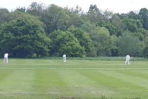 Lewis Hodgins, left, taking the strike, during Hemel's win at Ealing Hanwellians in Southall on Sunday.