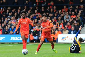 Town full back James Justin and midfielder Pelly-Ruddock Mpanzu