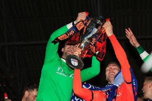 James Shea celebrates winning League One with Jack Stacey