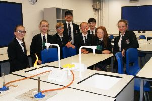 Some of the students in the new science block.