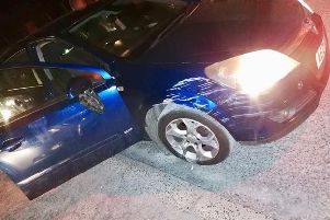 PSNI picture of the damaged car in Coalisland.