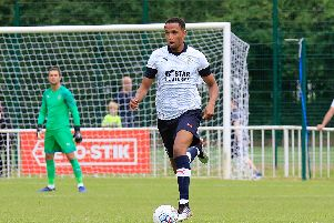 Brendan Galloway in action for the Hatters during pre-season