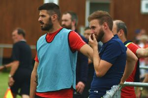 Tom Manship (right) and assistant Edi Appleton will oversee Melton's FA Cup debut