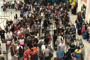 Crowds at Gatwick Airport today