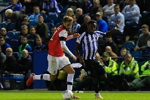 Andrew Shinnie bursts forward against Sheffield Wednesday