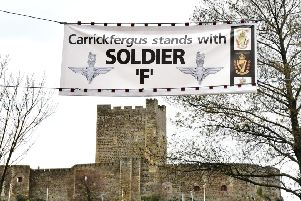"A banner in Carrickfergus  in Support of Soldier F. ""Be it by outward symbols or peoples' personal views, there is much support for the soldier"""