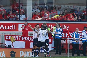 James Collins celebrates making it 2-0 at Barnsley