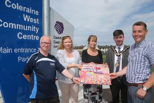 The Mayor of Causeway Coast and Glens Borough Council Councillor Sean Bateson pictured launching the new Community Centre e-brochure with Bryce Adams, Causeway Coast and Glens Borough Council, Adele Mc Closkey, Community Facilities Development Officer, Causeway Coast and Glens Borough Council,  Julie Welsh, Head of Community and Culture, Causeway Coast and Glens Borough Council and Michael O'Brien, Sport and Community Facilities Manager, Causeway Coast and Glens Borough Council
