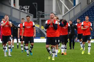 Hatters players applaud the travelling supporters at Blackburn on Saturday