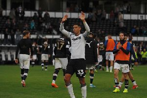 Curtis Davies applauds the Hatters fans on Saturday