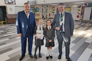 Headteacher Jonathan Smith, Saundra and Ellie from the Student council at Ardley Hill and Adrian Rogers, CEO of Chiltern Learning Trust