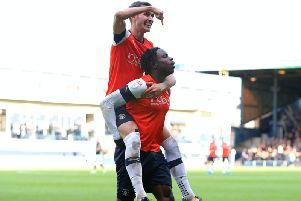 Pelly-Ruddock Mpanzu celebrates his goal against Bristol City on Saturday