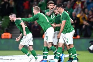 James Collins, celebrating here, is back in the Ireland squad once more
