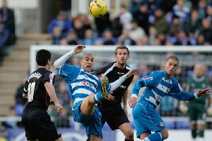 Action from Luton's trip to Reading in December 2005, where the Royals ran out 3-0 winners