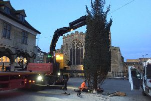 The tree arrives in Peterborough