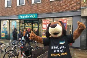 Poundland mascot Pound hound outside the new store in East Street Chichester