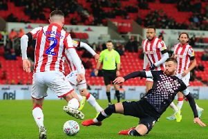 Ryan Tunnicliffe had Luton's best chance of the game at Stoke last night