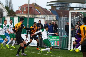 It was goalmouth action all the way as Bognor put seven past Cray / Picture: Tommy McMillan