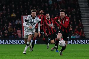 Town attacker Harry Cornick in action against Bournemouth