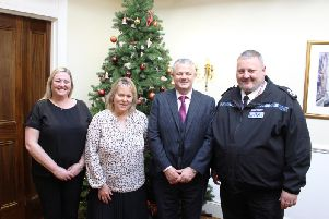 Beds Police Federation's deputy chairman Emma Carter, PCC Kathryn Holloway, Federation chairman Jim Mallen and Chief Constable Garry Forsyth