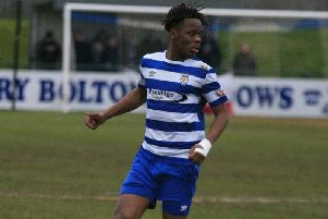 Peter Kioso in action for Dunstable Town - pic: Chris White