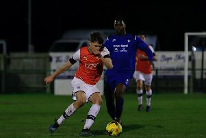 Sam Beckwith in action for the Hatters' development team recently