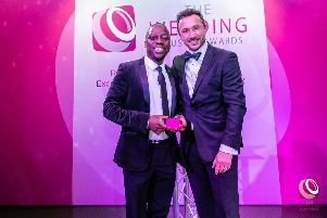 'The Piano Singer' James Junior, left, and Damian Bailey founder and chairman of the Wedding Industry Awards, right.