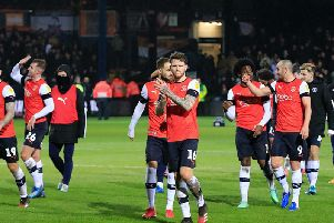 Glen Rea leads the applause after Town celebrate beating Sheffield Wednesday 1-0 at Kenilworth Road