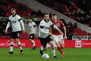 Town midfielder Luke Berry on the ball at Middlesbrough