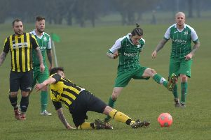 Sunday morning football action, as Swan & Helmet take on Pitsford Rangers (Picture: Dave Ikin)