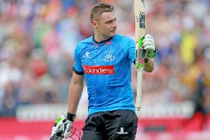 Luke Wright salutes the crowd after his 92 in the T20 Blast Finals Day at Edgbaston this year. Picture by Southern News & Pictures.
