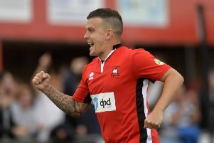 Former Crawley Town man Dean Cox in action for Eastbourne Borough. Picture by Jon Rigby
