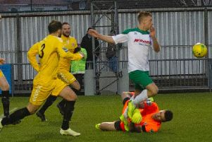 Mason Walsh is fouled for the penalty that put Bognor two up against Potters Bar / Picture by Tommy McMillan