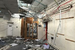 The damage to the interior of Sovereign House, in Queensway, Leamington.