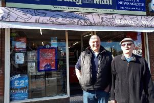 Paul Hallett of Scott's Newsagents with loyal customer Geoff