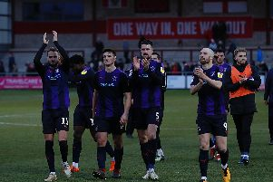 Luton celebrate a club record win at Fleetwood on Saturday