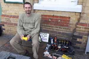 Dave Morgan is offering shoe shining outside Eastbourne station