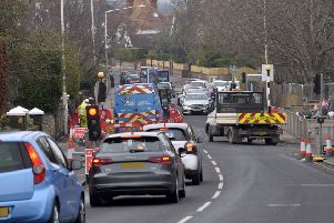 Roadworks/Temporary traffic lights in Kings Drive, Eastbourne (Photo by Jon Rigby) SUS-190218-100720008