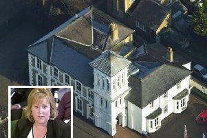 The offices of Leighton-Linslade Town Council; inset, PCC Kathryn Holloway