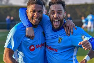 Scorer Simeon Tulloch and Justin Marsden celebrate the second goal against Deeping Rangers  PICTURES BY MARTIN PULLEY