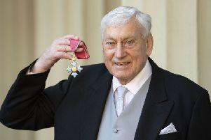 Willie John McBride with his CBE for services to rugby following an investiture ceremony at Buckingham Palace, London. Photo: Victoria Jones/PA Wire