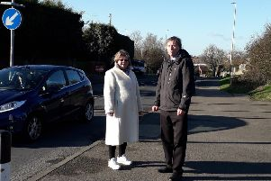 Candy Vaughn and councillor Alan Shuttleworth in Friday Street, Eastbourne