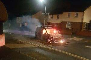 Image, used with permission, from Twitter of a van on fire in Lurgan on 08-03-19. Added by AK