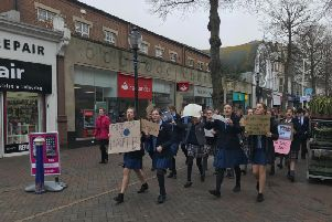 Students marching in Eastbourne today