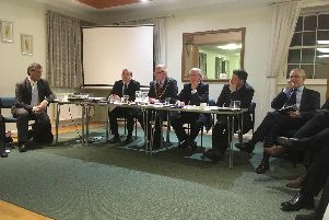Haywards Heath mayor Jim Knight with councillors at the annual town meeting on March 11