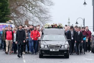 Press Eye Belfast - Northern Ireland 22nd March 2019''Funeral of 17-year-old Morgan Barnard at St Patrick's Church in Dungannon, Co. Tyrone.  Morgan died along with Lauren Bullock (17) and 16-year-old Connor Currie after an incident at the Greenvale Hotel in Cookstown on St Patrick's night. ''Picture by Jonathan Porter/PressEye.com