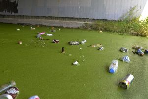 Litter dumped in Shinewater Lake area in Eastbourne (Photo by Jon Rigby) SUS-180208-101934008