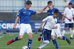 Rangers' Cole McKibbon    and Co Londonderry Lee Harkin